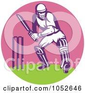 Royalty Free Vector Clip Art Illustration Of A Cricket Batsman Logo 2