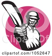 Royalty Free Vector Clip Art Illustration Of A Cricket Batsman Logo 9