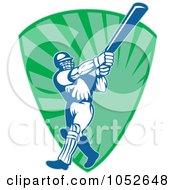 Royalty Free Vector Clip Art Illustration Of A Cricket Batsman Logo 12