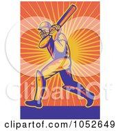 Royalty Free Vector Clip Art Illustration Of A Cricket Batsman Over Orange Rays