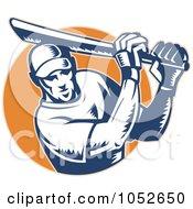 Royalty Free Vector Clip Art Illustration Of A Cricket Batsman Logo 8