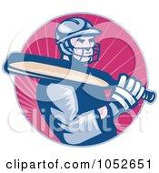 Royalty Free Vector Clip Art Illustration Of A Cricket Batsman Logo 1