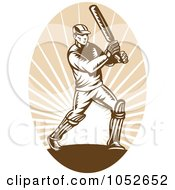 Cricket Batsman Logo - 4