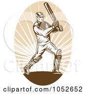 Royalty Free Vector Clip Art Illustration Of A Cricket Batsman Logo 4