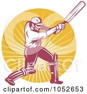 Royalty Free Vector Clip Art Illustration Of A Cricket Batsman Logo 5