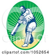 Royalty Free Vector Clip Art Illustration Of A Cricket Batsman Logo 11