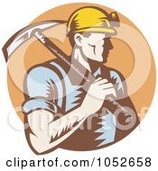 Royalty Free Vector Clip Art Illustration Of A Retro Coal Miner Carrying A Pickaxe Over A Brown Circle