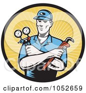 Royalty Free Vector Clip Art Illustration Of A Retro Plumber Over Yellow Rays Logo by patrimonio