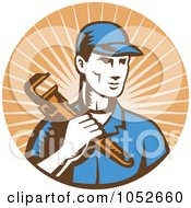 Royalty Free Vector Clip Art Illustration Of A Retro Plumber Over Orange Rays Logo