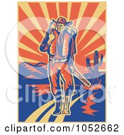 Royalty Free Vector Clip Art Illustration Of A Retro Cowboy Walking With A Pack And Rifle In A Desert