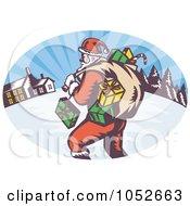 Royalty Free Vector Clip Art Illustration Of A Retro Santa Logo