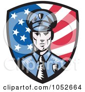 Royalty Free Vector Clip Art Illustration Of A Retro American Police Shield Logo by patrimonio