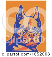 Royalty Free Vector Clip Art Illustration Of A Retro French Bulldog In Blue And Orange by patrimonio