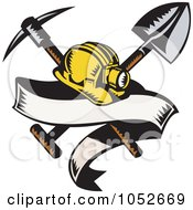 Royalty Free Vector Clip Art Illustration Of A Miner Helmet With A Shovel And Pickax And Blank Banner