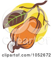Royalty Free Vector Clip Art Illustration Of An Orange Cashew Fruit On A Tree Over Yellow