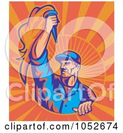 Retro Worker Holding A Torch On Orange Rays