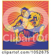 Retro Sumo Wrestler Against Red And Yellow Rays