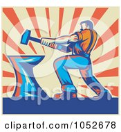 Royalty Free Vector Clip Art Illustration Of A Retro Blacksmith Hammering Over Beige And Orange Rays