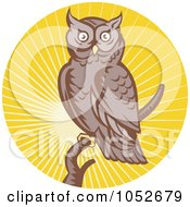 Royalty Free Vector Clip Art Illustration Of A Retro Owl Over Yellow Rays Logo by patrimonio