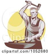 Royalty Free Vector Clip Art Illustration Of A Retro Blacksmith Logo Over A Yellow Circle
