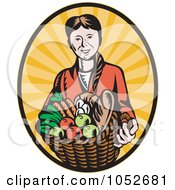 Royalty Free Vector Clip Art Illustration Of A Retro Woman Holding A Harvest Basket Over Rays