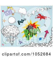 Royalty Free Vector Clip Art Illustration Of A Digital Collage Of Comic Design Elements On Blue 2