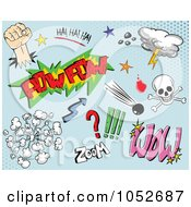 Royalty Free Vector Clip Art Illustration Of A Digital Collage Of Comic Design Elements On Blue 1