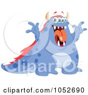 Royalty Free Vector Clip Art Illustration Of A Blue Monster Making A Funny Face by yayayoyo