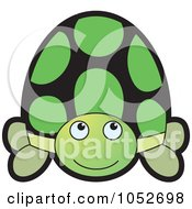 Royalty Free Vector Clip Art Illustration Of A Happy Green Tortoise by Lal Perera
