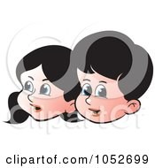 Royalty Free Vector Clip Art Illustration Of Boy And Girl Faces by Lal Perera