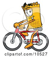 Yellow Admission Ticket Mascot Cartoon Character Riding A Bicycle
