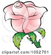 Royalty Free Vector Clip Art Illustration Of A Pretty Pink Rose by Lal Perera