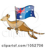 Royalty Free Vector Clip Art Illustration Of A Kangaroo And Joey With An Aussie Flag 2 by Lal Perera