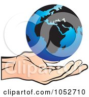 Royalty Free Vector Clip Art Illustration Of A Blue Globe Floating Over A Hand