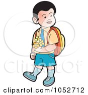 Royalty Free Vector Clip Art Illustration Of A School Boy Carrying Flowers 2 by Lal Perera