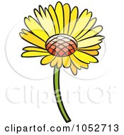 Royalty Free Vector Clip Art Illustration Of A Yellow Daisy Flower by Lal Perera
