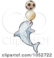 Royalty Free Vector Clip Art Illustration Of A Dolphin Balancing Balls by Lal Perera