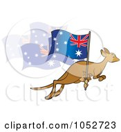 Royalty Free Vector Clip Art Illustration Of A Kangaroo And Joey With An Aussie Flag 1 by Lal Perera