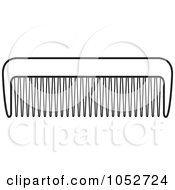 Royalty Free Vector Clip Art Illustration Of An Outlined Comb by Lal Perera