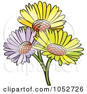 Royalty Free Vector Clip Art Illustration Of A Trio Of Daisy Flowers by Lal Perera