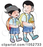 Royalty Free Vector Clip Art Illustration Of School Kids Carrying Flowers 1