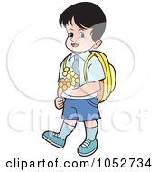 Royalty Free Vector Clip Art Illustration Of A School Boy Carrying Flowers 1