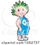 Royalty Free Vector Clip Art Illustration Of A Kid Wearing A Green Crown