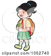 Royalty Free Vector Clip Art Illustration Of A School Girl With Flowers 2