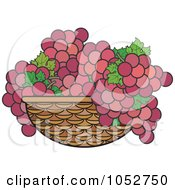 Royalty Free Vector Clip Art Illustration Of A Basket Of Purple Grapes by Lal Perera