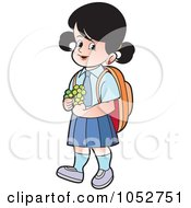 Royalty Free Vector Clip Art Illustration Of A School Girl With Flowers 1