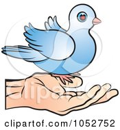 Royalty Free Vector Clip Art Illustration Of A Blue Dove On A Hand by Lal Perera