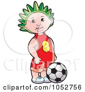 Royalty Free Vector Clip Art Illustration Of A Boy By A Soccer Ball