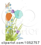 Royalty Free Vector Clip Art Illustration Of Spring Tulips Bell Flowers And Ferns Over White by elaineitalia