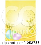 Royalty Free Vector Clip Art Illustration Of A Background With Rays Easter Eggs And Plants